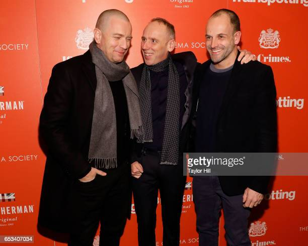 Ewan McGregor Ewen Bremner and Jonny Lee Miller attend the New York premiere of 'T2 Trainspotting' at Landmark Sunshine Cinema on March 14 2017 in...