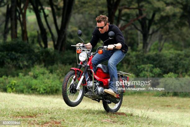 Ewan McGregor helps deliver the first batch of motorcycles to Nairobi bought by Virgin Atlantic for African Charity Project 'Money' which enables...