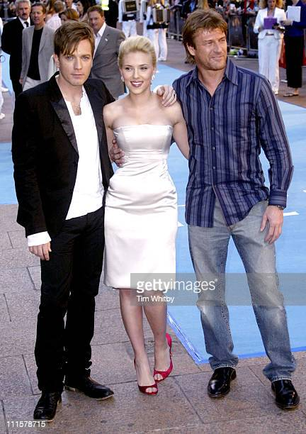 Ewan McGregor Scarlett Johansson and Sean Bean during 'The Island' London Premiere at Odeon Leicester Square in London Great Britain