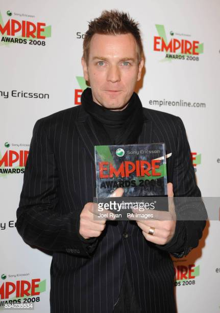 Ewan McGregor winner of the Empire Icon Award with his award at the 2008 Empire Film Awards at the Grosvenor House Hotel on Park Lane in central...