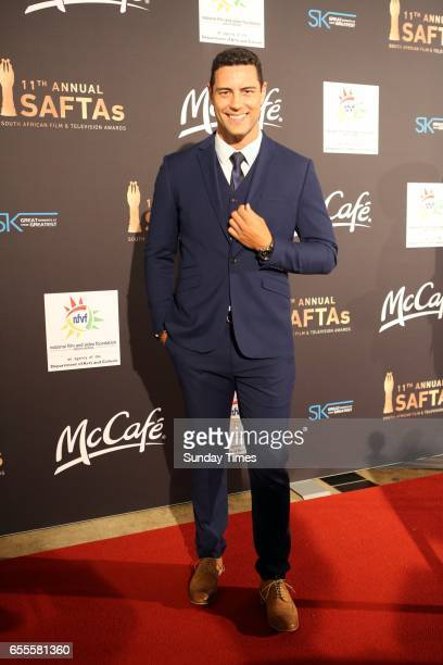 Ewan Strydom poses on the red carpet during the South African Film and Television Awards at Sun City on March 18 2017 in Rustenburg South Africa The...