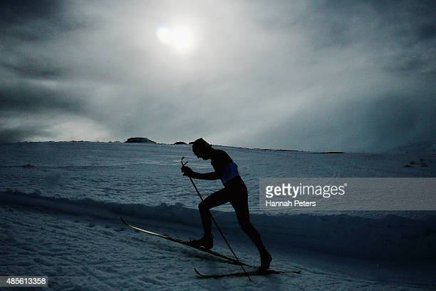 Ewan Watson of Australia competes in the FIS CrossCountry Skiing ANC Mass Start Classic Mens race during the Winter Games NZ at Snow Farm on August...