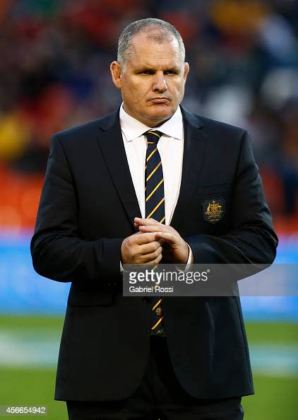 Ewen McKenzie head coach of Australia looks on prior a match between Argentina Los Pumas and Australia Wallabies as part of The Rugby Championship...