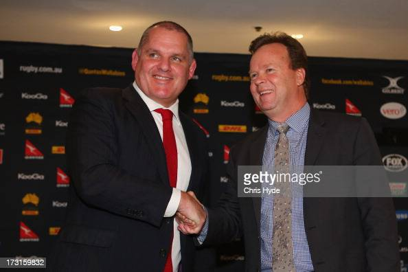 Ewen McKenzie is appointed as the new ARU Wallabies coach by CEO Bill Pulver at the Sofitel Hotel on July 9 2013 in Brisbane Australia