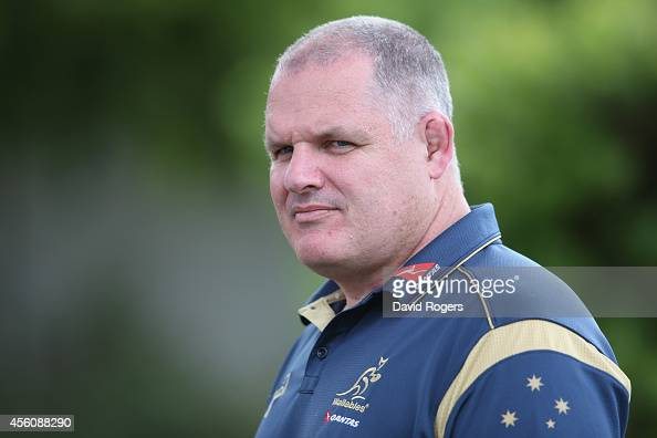 Ewen McKenzie the Wallaby head coach looks on during the Australian Wallabies training session held at Bishops School on September 25 2014 in Cape...