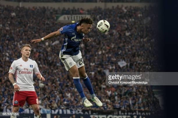 ewis Holtby and Thilo Kehrer of Schalke go up for a header during the Bundesliga match between FC Schalke 04 and Hamburger SV at VeltinsArena on May...