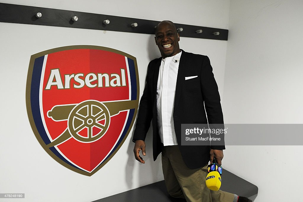 Ex Arsenal footballer and now TV pundit Ian Wright smiles in the Arsenal changing room before the FA Cup Final between Aston Villa and Arsenal at...