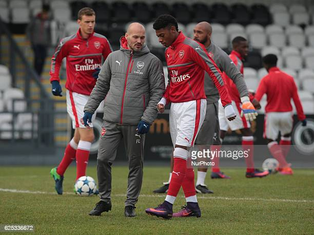 Ex Arsenal player Freddie Ljungberg now working for their Academy haveng words with Stephy Mavididi of Arsenal Under 19s during UEFA Youth League...