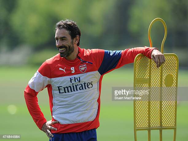 Ex Arsenal player Robert Pires during a training session at London Colney on May 27 2015 in St Albans England