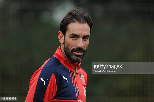 ex Arsenal player Robert Pires watches a training session at London Colney on October 23 2015 in St Albans England