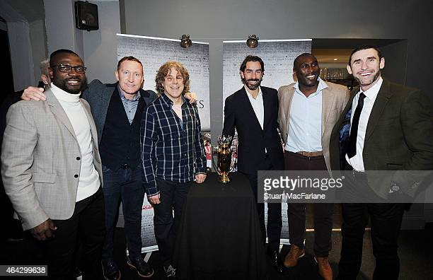 Ex Arsenal players Lauren Ray Parlour Robert Pires Sol Campbell and Martin Keown with comedian Alan Davies Lauren at the Preview Screening of...