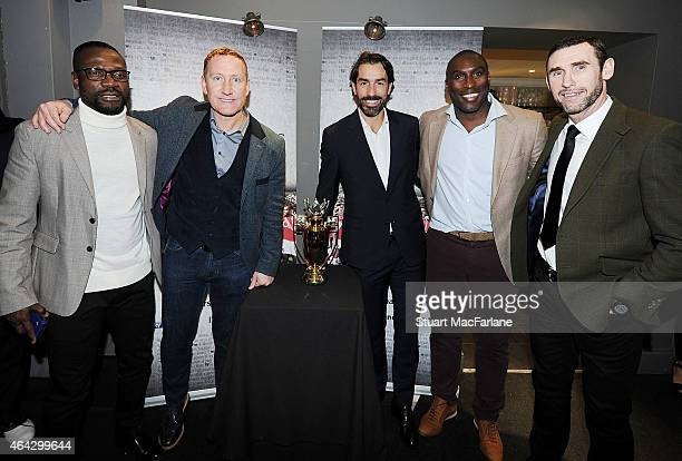 Ex Arsenal players Lauren Ray Perlour Robert Pires Sol Campbell and Martin Keown at the Preview Screening of 'Invincibles' at the Everyman cinema in...