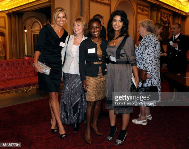 Ex Blue Peter presenters Konnie Huq DianeLouise Jordan and Katy Hill during a reception to mark the programme's 50th birthday at Buckingham Palace