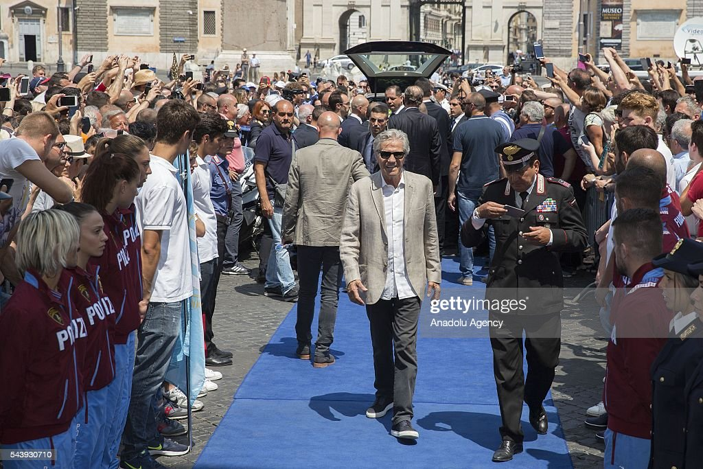 Ex boxer and olympic champion Nino Benvenuti attends the funeral ceremony of Italian actor Carlo Pedersoli also known as Bud Spencer outside the Santa Maria in Montesanto at Piazza del Popolo in Rome, Italy, 30 June 2016.