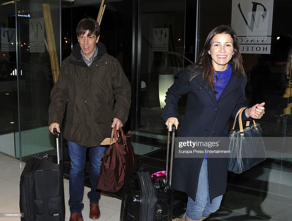 Ex bullfighter Manuel Diaz 'El Cordobes' and his wife Virginia Troconis are seen on January 17, 2013 in Malaga, Spain.