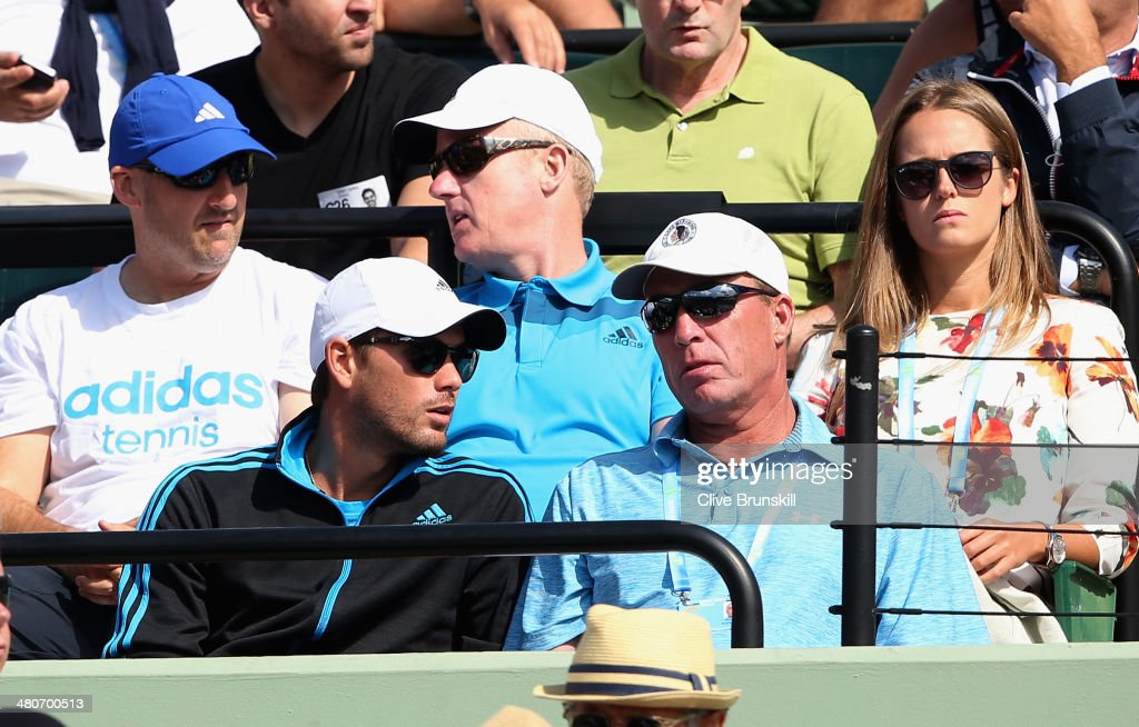 Ex coach <a gi-track='captionPersonalityLinkClicked' href=/galleries/search?phrase=Ivan+Lendl&family=editorial&specificpeople=242990 ng-click='$event.stopPropagation()'>Ivan Lendl</a> sits in the Murray player box with current coach Danny Valverdu as they both watch Andy Murray of Great Britain in action against Novak Djokovic of Serbia during their quarter final round match during day 10 at the Sony Open at Crandon Park Tennis Center on March 26, 2014 in Key Biscayne, Florida.