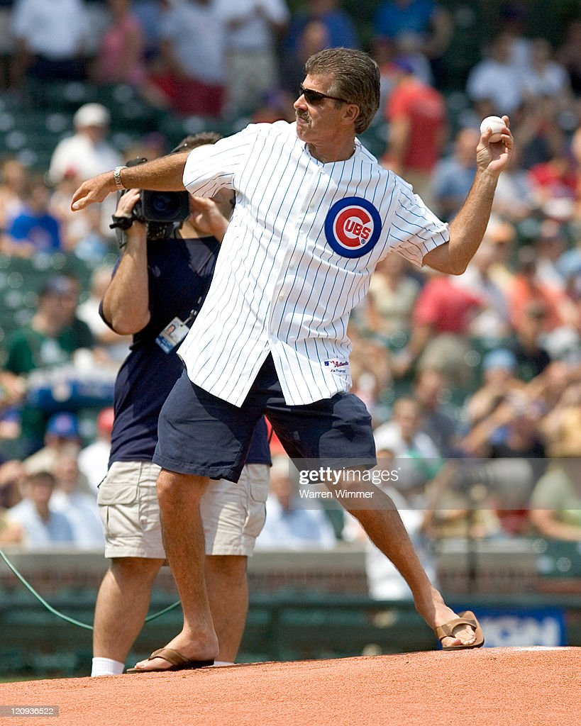 Ex Cub, Bill Buckner throwing out cermonial first pitch at Wrigley Field in Chicago, Illiinois on July 14, 2005. Chicago Cubs over the Pittsburg Pirates by a score of 5 to 1.