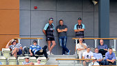 Ex England coach Andy Flower looks on with Surrey coach Alec Stewart during day two of the LV= County Championship Division Two match between...