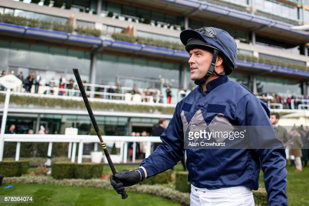 Ex England footballer Michael Owen enters the parade ring prior to riding in a charity race at Ascot racecourse on November 24 2017 in Ascot United...