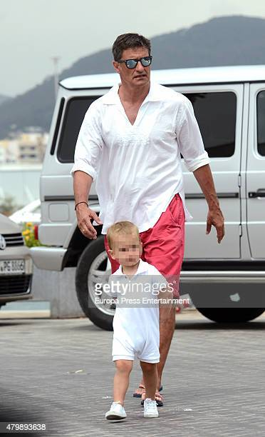 Ex football player Michel and his grandson Nicolas Gonzalez are seen on June 11 2015 in Ibiza Spain
