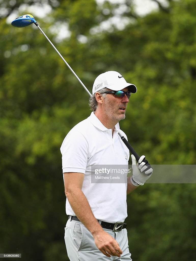 Ex french footballer Laurent Blanc in action during a pro-am round ahead of the 100th Open de France at Le Golf National on June 29, 2016 in Paris, France.