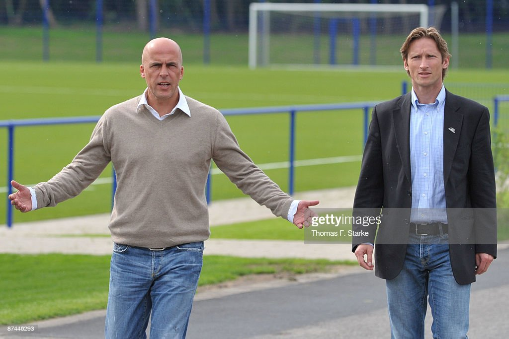 Ex head coach Michael Frontzeck and sports director Detlev Dammeier of Arminia Bielefeld talk to the media at the training ground...