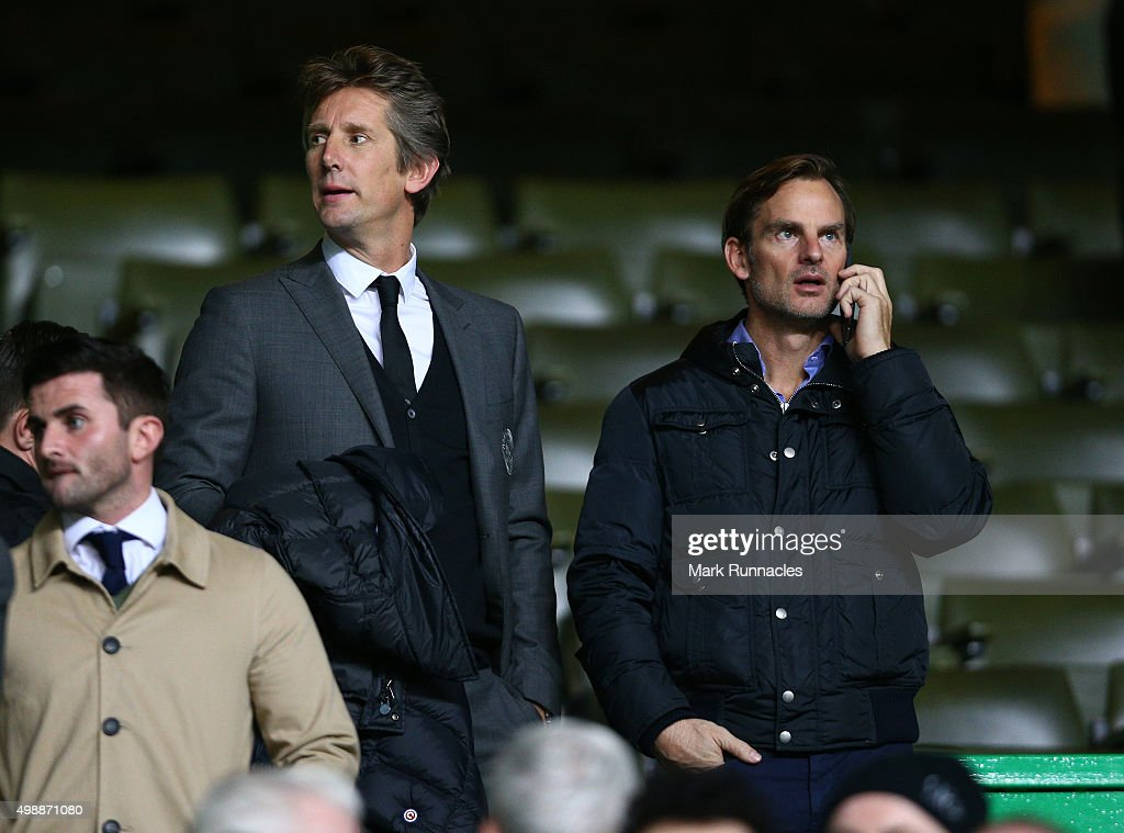 Ex Holland international players Edwin van der Sar (L), and Ronald de Boer watch on from the crowd during the UEFA Europa League Group A match between Celtic FC and AFC Ajax on November 26, 2015 in Glasgow, Scotland.