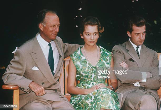 Ex King Leopold III with daughterinlaw Princess Paola and son Prince Albert of Belgium in 1961