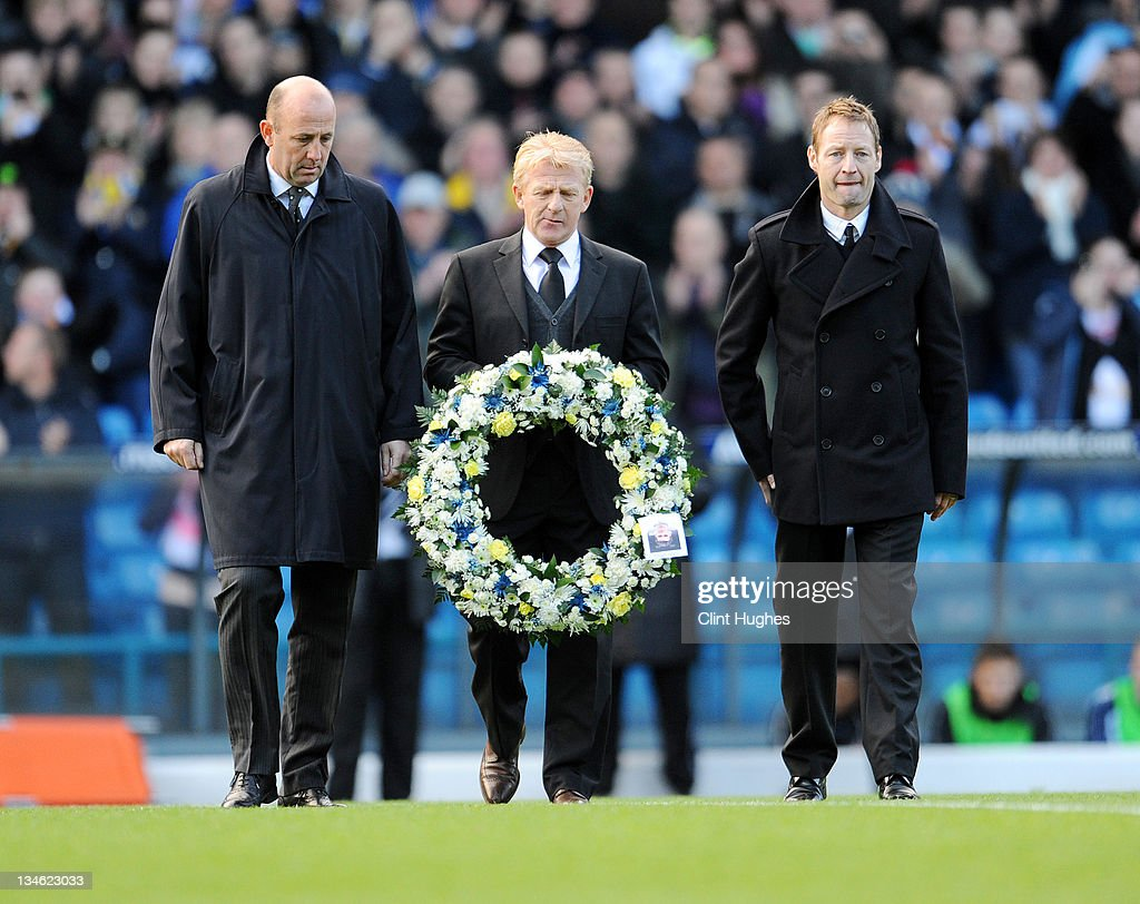 Ex Leeds United players (L to R) Gary McAllister, Gordon Strachan and David Batty lay a wreath prior to kick off during the npower Championship match between Leeds United and Millwall at Elland Road on December 03, 2011 in Leeds, England.
