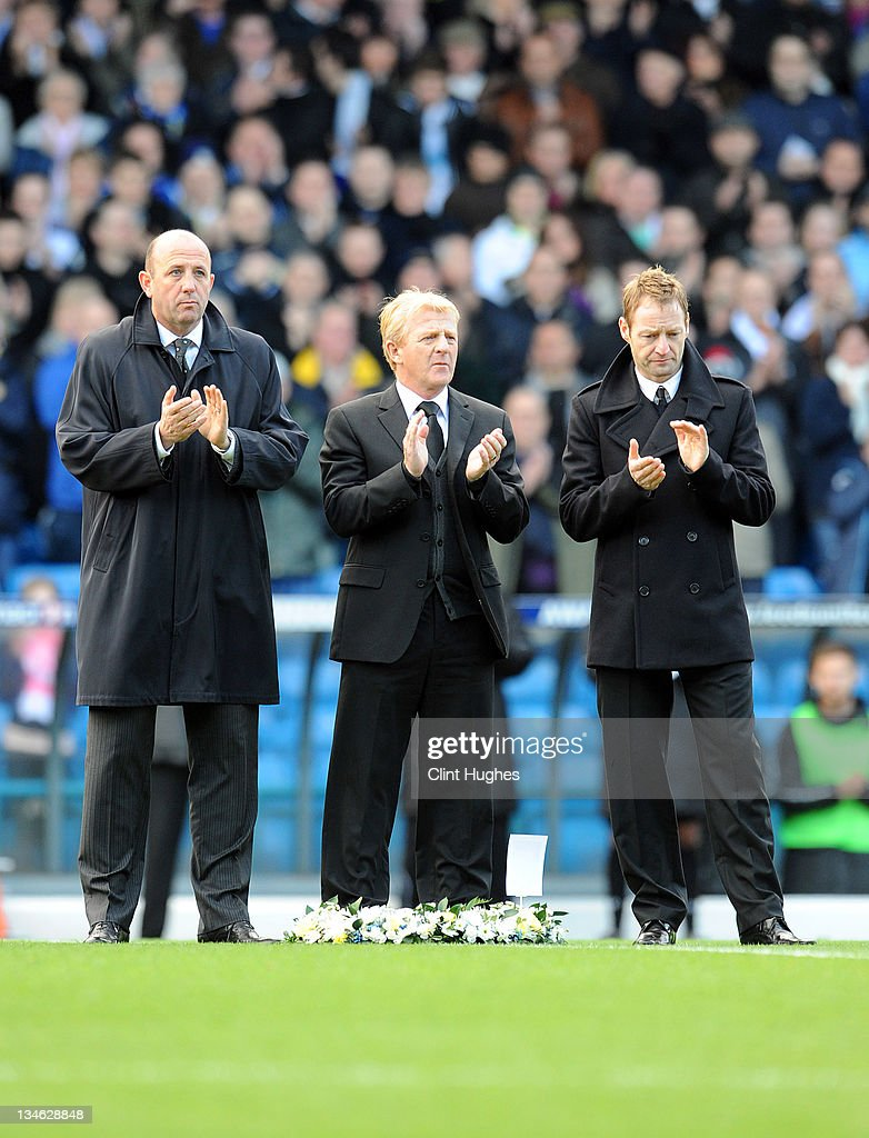 Ex Leeds United players (L to R) Gary McAllister, Gordon Strachan and David Batty join in the minutes applause to the late Gary Speed prior to kick off during the npower Championship match between Leeds United and Millwall at Elland Road on December 03, 2011 in Leeds, England.