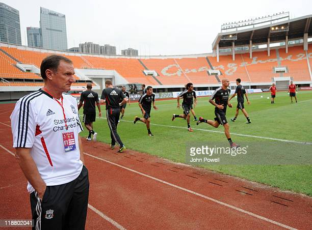 Ex Liverpool Captain Phil Thompson attends a training session at Guangdong Provincial People's Stadium at the start of their Pre season tour on July...