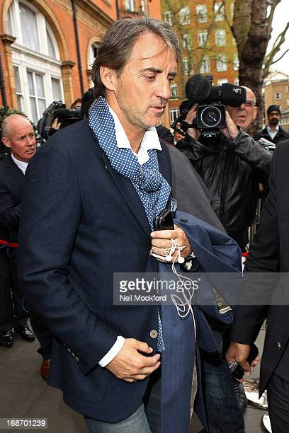 Ex Manchester City Manager Roberto Mancini who was sacked by the club last night is seen leaving the Landmark Hotel on May 14 2013 in London England