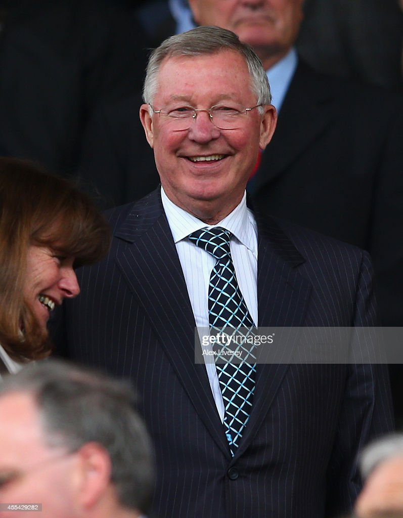 Ex Manchester United Manager Sir <a gi-track='captionPersonalityLinkClicked' href=/galleries/search?phrase=Alex+Ferguson&family=editorial&specificpeople=203067 ng-click='$event.stopPropagation()'>Alex Ferguson</a> looks on prior to the Barclays Premier League match between Manchester United and Queens Park Rangers at Old Trafford on September 14, 2014 in Manchester, England.