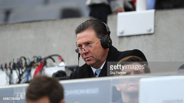 Ex Newcastle player and media pundit Chris Waddle looks on during the Barclays Premier League match between Newcastle United and Liverpool at St...