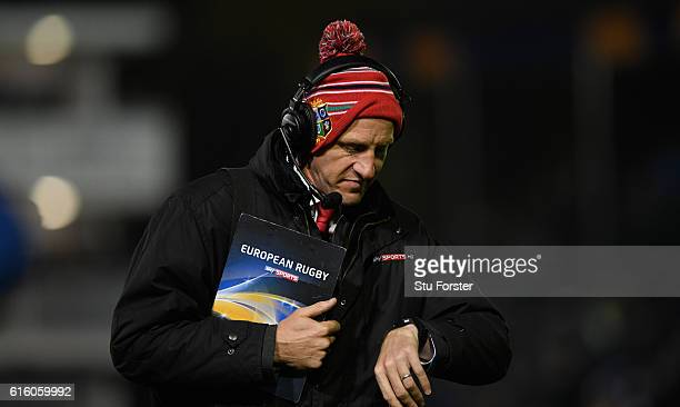 Ex player and Sky TV Pundit Will Greenwood looks on during the European Rugby Challenge Cup match between Bath Rugby and Bristol at the Recreation...