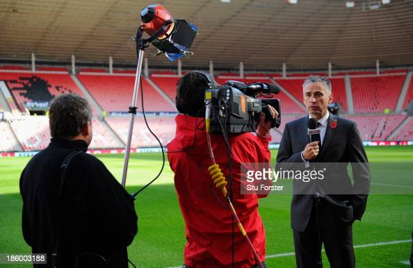 Ex player and tv pundit Alan Smith does a piece to camera before the Barclays Premier League match between Sunderland and Newcastle United at Stadium...