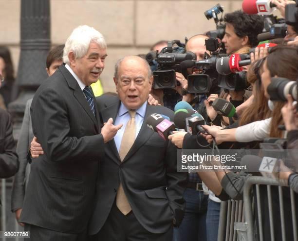 Ex presidents of Cataluna Pasqual Maragall and Jordi Pujol leave former International Olympic Committee president Juan Antonio Samaranch's funeral...