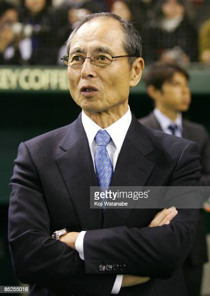 Ex professional baseball player Sadaharu Oh looks on the warms up prior to the World Baseball Classic match between Japan and China at Tokyo Dome on...