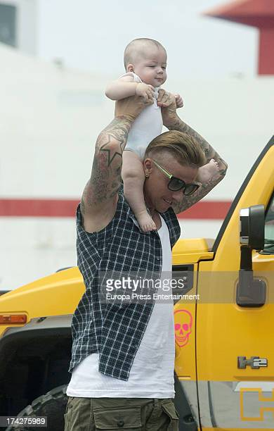 Ex Real Madrid football player Guti and his son Enzo are seen on July 22 2013 in Ibiza Spain