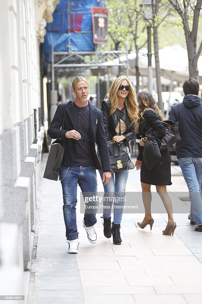 Ex Real Madrid football player Guti and Romina Belluscio are seen going for shopping on April 4, 2013 in Madrid, Spain.