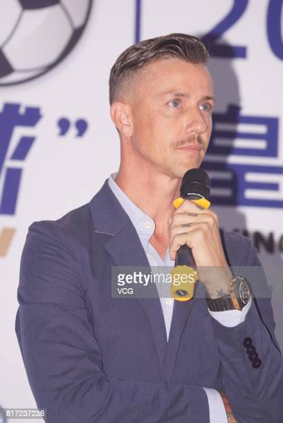 Ex Real Madrid football player Jose Maria Gutierrez Guti attends Real Madrid Campus Experience kickoff ceremony on July 17 2017 in Shanghai China