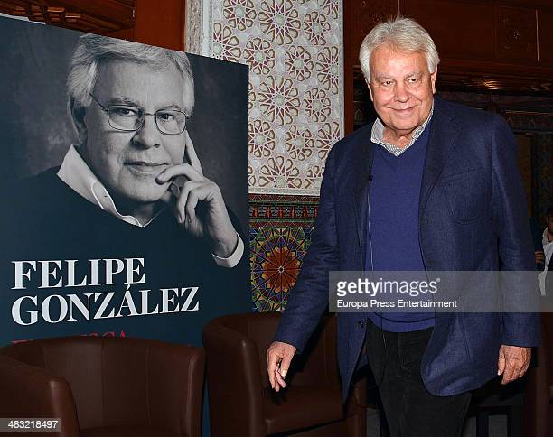 Ex Spanish Prime Minister Felipe Gonzalez presents his book 'En Busca de Respuestas' at Pabellon de las Tres Culturas on January 9 2014 in Seville...