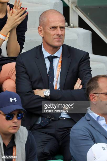 Ex Tennis player Guy Forget is spotted at Roland Garros on June 7 2017 in Paris France