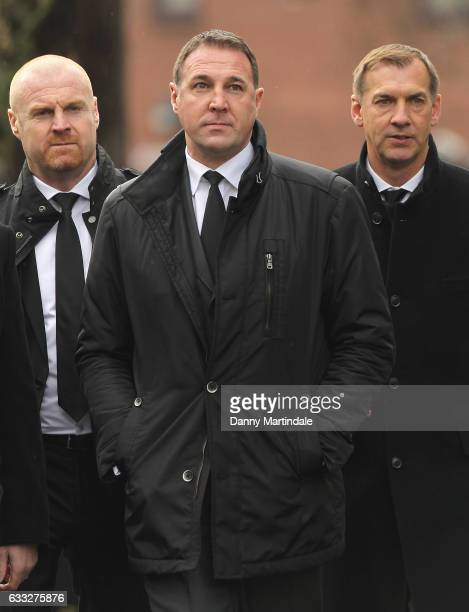 Ex Watford managers Sean Dyche and Malky Mackay attends the funeral of former England football manager Graham Taylor at St Mary's Church on February...