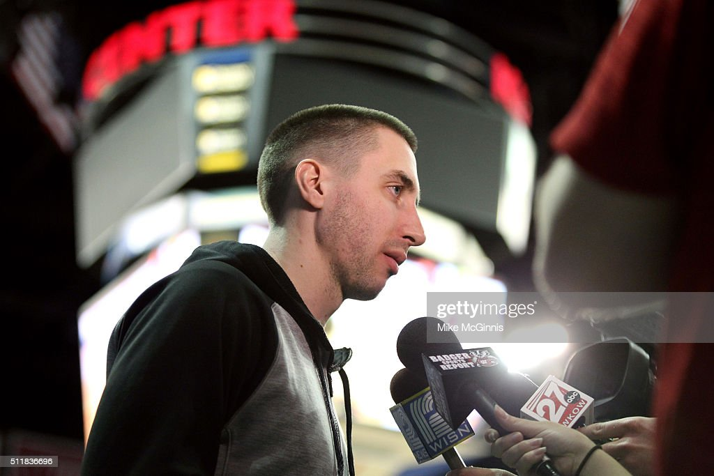 Ex Wisconsin Badgers Basketball player <a gi-track='captionPersonalityLinkClicked' href=/galleries/search?phrase=Josh+Gasser&family=editorial&specificpeople=7355332 ng-click='$event.stopPropagation()'>Josh Gasser</a> attends the game against the Illinois Fighting Illini at Kohl Center on February 21, 2016 in Madison, Wisconsin.