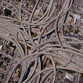 Exaggerated complex freeway interchanges