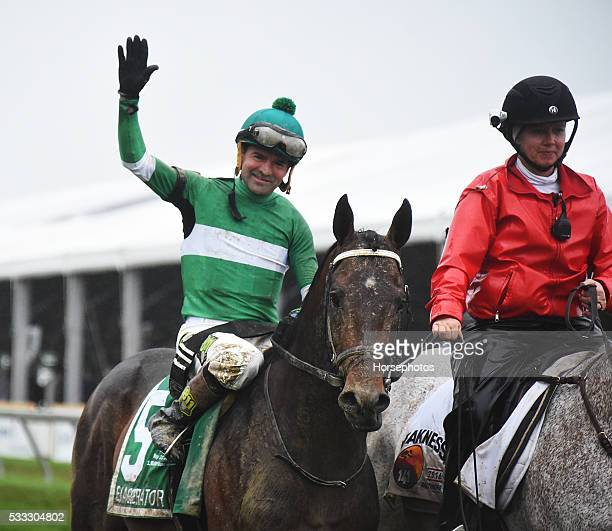 Exaggerator with Kent Desormeaux up wins the Preakness Stakes on May 21 2016 at Pimlico Race Course Baltimore