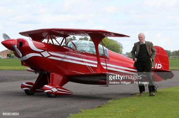 ExAir Force pilot Dai Heather Hayes after performing air stunts in his Pits special light aircraft at Perth Airport Scotland