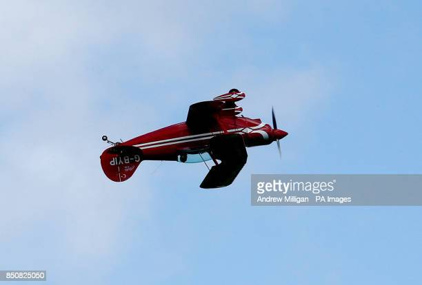 ExAir Force pilot Dai Heather Hayes performing air stunts in his Pits special light aircraft at Perth Airport Scotland