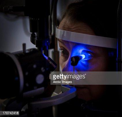 Examination of eye prior to laser surgery : Stock Photo